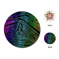 Abstract Background Rainbow Metal Playing Cards (Round)