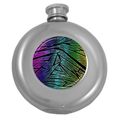 Abstract Background Rainbow Metal Round Hip Flask (5 oz)