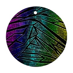 Abstract Background Rainbow Metal Round Ornament (Two Sides)