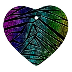 Abstract Background Rainbow Metal Heart Ornament (2 Sides)