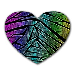 Abstract Background Rainbow Metal Heart Mousepads