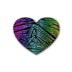Abstract Background Rainbow Metal Heart Coaster (4 pack)