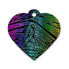 Abstract Background Rainbow Metal Dog Tag Heart (One Side)