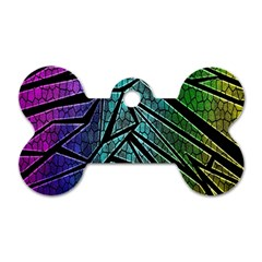 Abstract Background Rainbow Metal Dog Tag Bone (Two Sides)