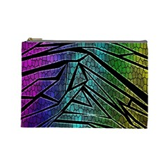 Abstract Background Rainbow Metal Cosmetic Bag (Large)