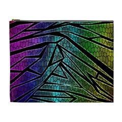 Abstract Background Rainbow Metal Cosmetic Bag (XL)