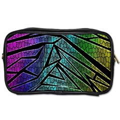 Abstract Background Rainbow Metal Toiletries Bags 2-Side