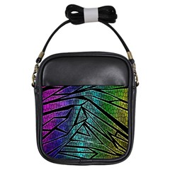 Abstract Background Rainbow Metal Girls Sling Bags