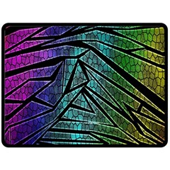 Abstract Background Rainbow Metal Fleece Blanket (Large)