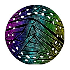 Abstract Background Rainbow Metal Round Filigree Ornament (2Side)