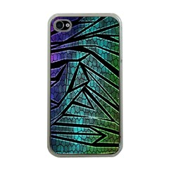 Abstract Background Rainbow Metal Apple iPhone 4 Case (Clear)