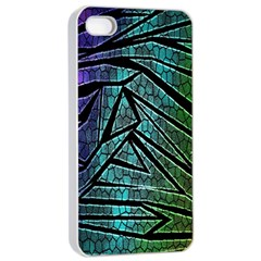 Abstract Background Rainbow Metal Apple iPhone 4/4s Seamless Case (White)