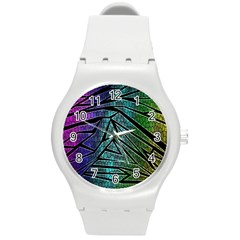 Abstract Background Rainbow Metal Round Plastic Sport Watch (M)