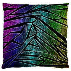 Abstract Background Rainbow Metal Large Cushion Case (One Side)