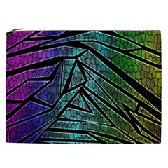 Abstract Background Rainbow Metal Cosmetic Bag (XXL)