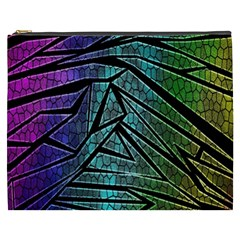 Abstract Background Rainbow Metal Cosmetic Bag (XXXL)