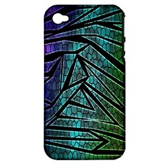 Abstract Background Rainbow Metal Apple iPhone 4/4S Hardshell Case (PC+Silicone)