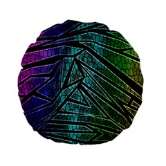 Abstract Background Rainbow Metal Standard 15  Premium Round Cushions