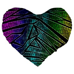 Abstract Background Rainbow Metal Large 19  Premium Heart Shape Cushions