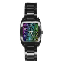 Abstract Background Rainbow Metal Stainless Steel Barrel Watch