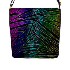 Abstract Background Rainbow Metal Flap Messenger Bag (L)