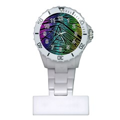 Abstract Background Rainbow Metal Plastic Nurses Watch