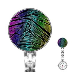 Abstract Background Rainbow Metal Stainless Steel Nurses Watch