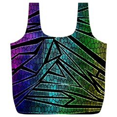 Abstract Background Rainbow Metal Full Print Recycle Bags (L)