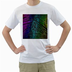 Abstract Background Rainbow Metal Men s T-Shirt (White)