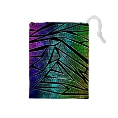 Abstract Background Rainbow Metal Drawstring Pouches (Medium)