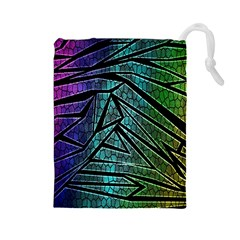 Abstract Background Rainbow Metal Drawstring Pouches (Large)