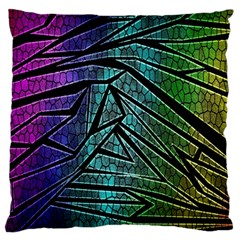 Abstract Background Rainbow Metal Large Flano Cushion Case (Two Sides)