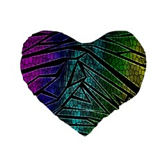 Abstract Background Rainbow Metal Standard 16  Premium Flano Heart Shape Cushions