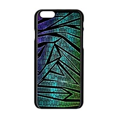 Abstract Background Rainbow Metal Apple iPhone 6/6S Black Enamel Case