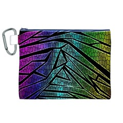 Abstract Background Rainbow Metal Canvas Cosmetic Bag (XL)