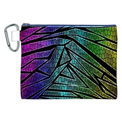 Abstract Background Rainbow Metal Canvas Cosmetic Bag (XXL)