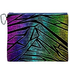 Abstract Background Rainbow Metal Canvas Cosmetic Bag (XXXL)