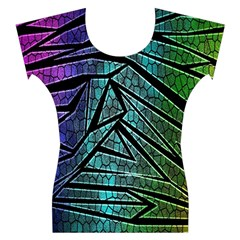 Abstract Background Rainbow Metal Women s Cap Sleeve Top