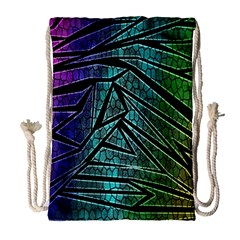 Abstract Background Rainbow Metal Drawstring Bag (Large)