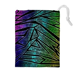 Abstract Background Rainbow Metal Drawstring Pouches (Extra Large)