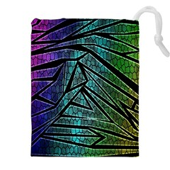 Abstract Background Rainbow Metal Drawstring Pouches (XXL)