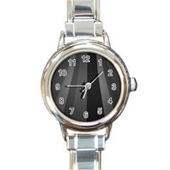 Black Minimalistic Gray Stripes Round Italian Charm Watch