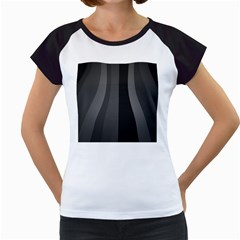 Black Minimalistic Gray Stripes Women s Cap Sleeve T