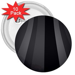 Black Minimalistic Gray Stripes 3  Buttons (10 pack)
