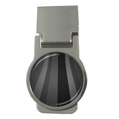 Black Minimalistic Gray Stripes Money Clips (Round)