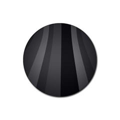 Black Minimalistic Gray Stripes Rubber Coaster (Round)
