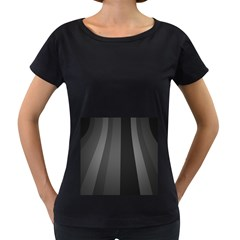Black Minimalistic Gray Stripes Women s Loose-Fit T-Shirt (Black)