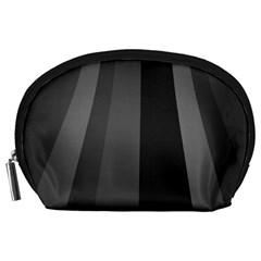 Black Minimalistic Gray Stripes Accessory Pouches (Large)