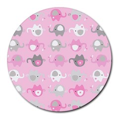 Animals Elephant Pink Cute Round Mousepads
