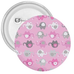 Animals Elephant Pink Cute 3  Buttons